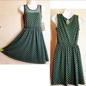 NWT Doe & Rae green and tan polkadot dress